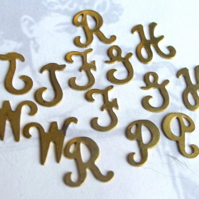 Assortment Of Vintage Raw Brass Script Initial Letter Charms
