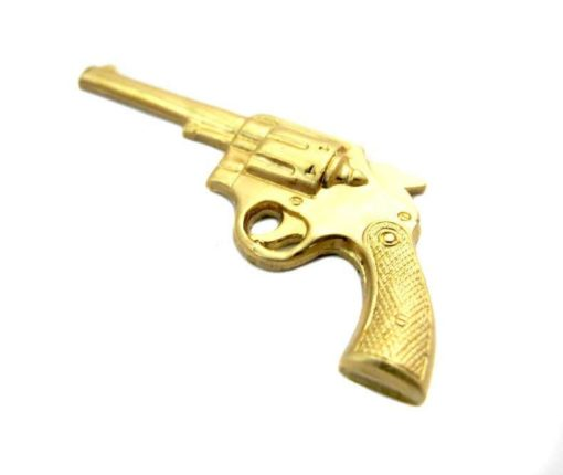 Large Brass Pistol Gun Charm - no hole