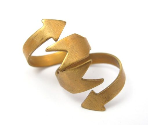 Raw Brass Arrow Adjustable Engraving Ring Findings