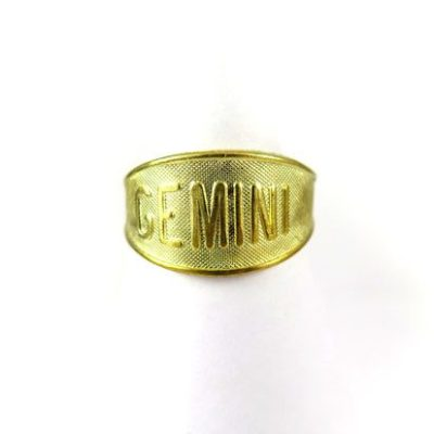 Raw Brass Astrological Sign Ring - GEMINI