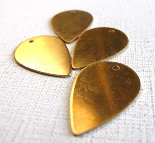 Raw Brass Flower Petal Engraving Pad Charms