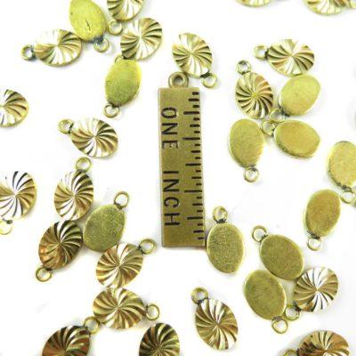 Tiny Vintage Diamond Cut Oval Charms