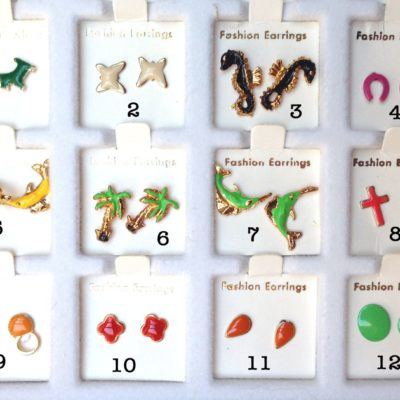 Vintage Enamel Stud Earring Shape Collection - You Choose