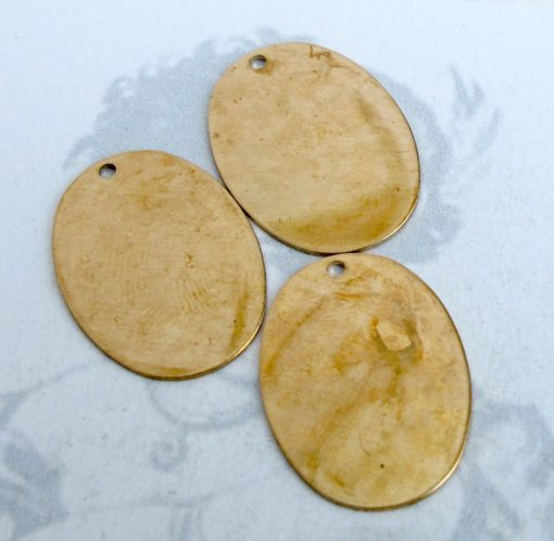 Brass Oval Engraving Charms (6X) (M748-A)