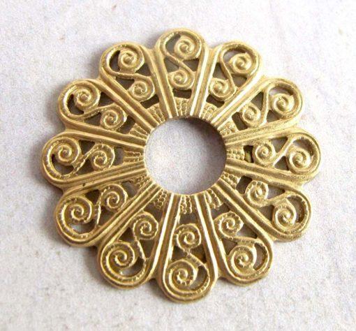 Brass Round Filigree Flower