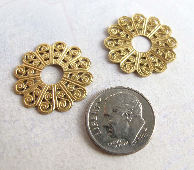 30pcs Square Brass Filigree Textured Flower 10mm Brass Charm bf361