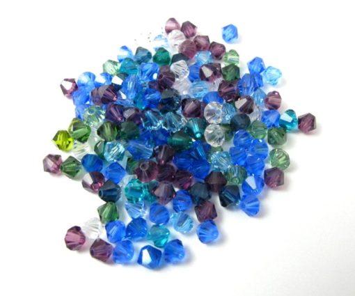 blue mix of Swarovski bicone beads