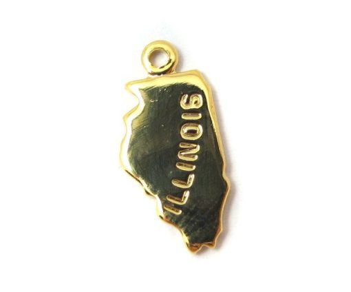 Engraved Tiny GOLD Plated on Raw Brass Illinois State