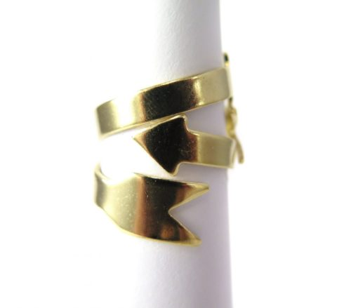 Gold Plated Arrow Adjustable Engraving Ring Findings
