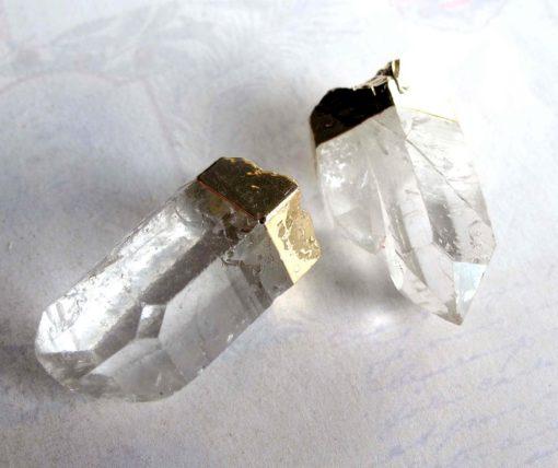 Gold Plated Quartz Pendant