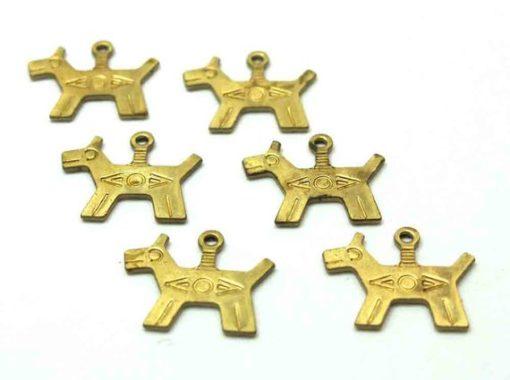 Brass Native American dog charms