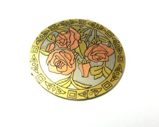 vintage brass enamel rose pendants with no bail