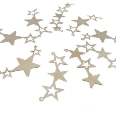rhodium plated star pendants