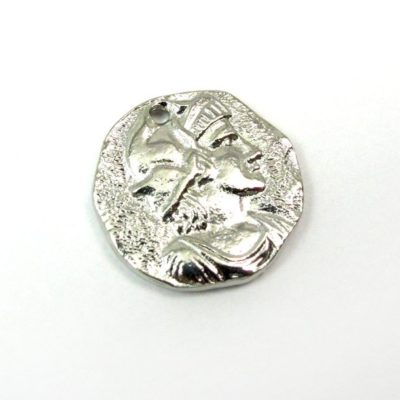 silver plated ancient European coin charm