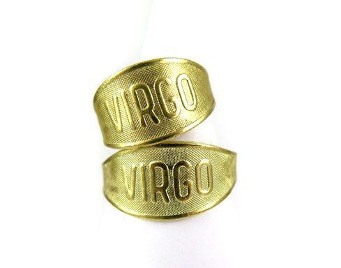 Raw Brass Astrological Sign Ring - VIRGO