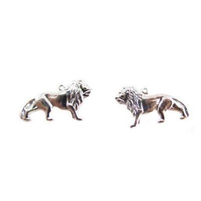 Rhodium Plated Lion Charms - Mirrored