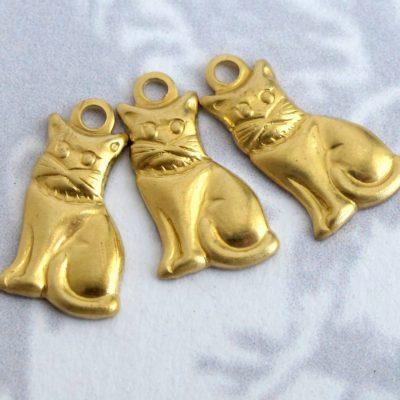 Tiny Brass Kitty Charms