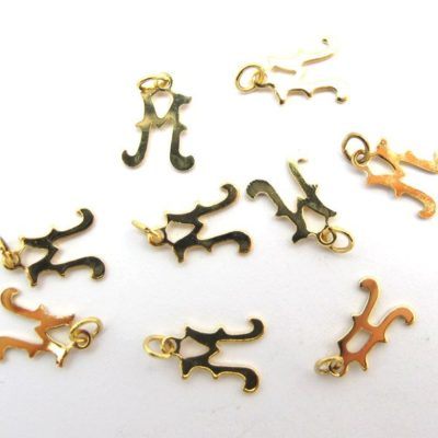 Tiny Gold Plated Alphabet Letter M charm