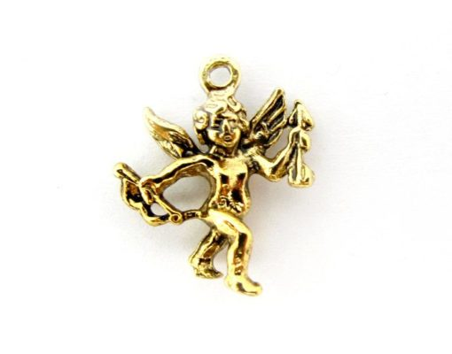antiqued gold plated cupid charms