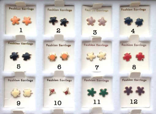 Vintage Enamel Stud Earring Flower Collection - You Choose - 1 Pair