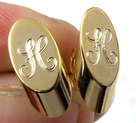Vintage Gold Plated Oval Script Initial Letter - H - Stud Earrings