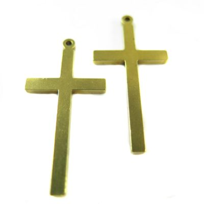 Vintage Raw Brass Engraving Cross Pendants (