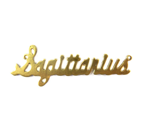 Brass Astrological Name Plate Pendants - Sagittarius