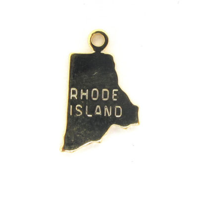 Engraved Tiny GOLD Plated on Raw Brass Rhode Island State Charms