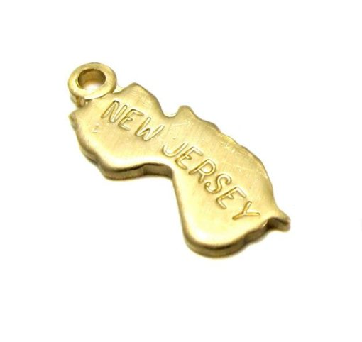 ENGRAVED - Tiny Raw Brass New Jersey State Charms