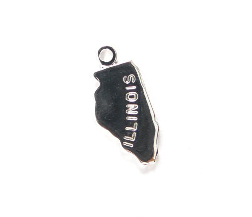 Engraved Tiny SILVER Plated on Raw Brass Illinois State Charms