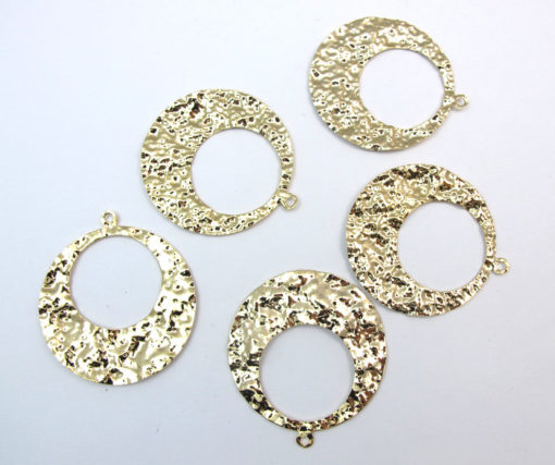 Gold Plated Hammer Round Hoop Pendants