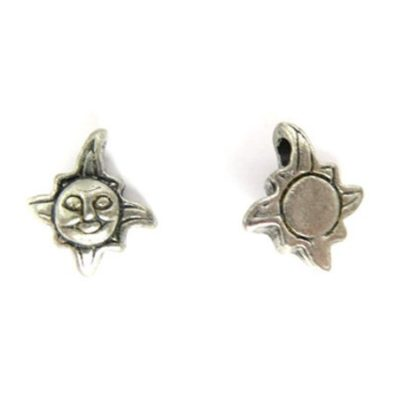 small silver sun charms with face