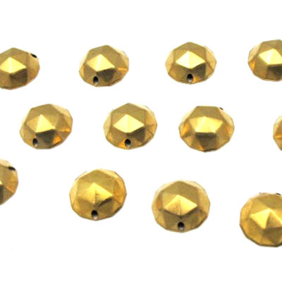 brass faceted round charm