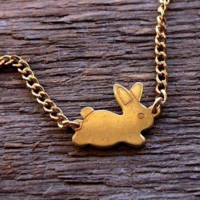 brass bunny bracelet