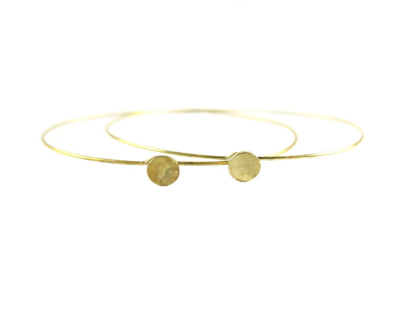 K416-B 2x Rhodium Plated Dainty Circle Engraving  Glue Wire Bracelet