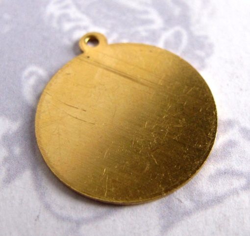 raw brass circle engraving charm with bail