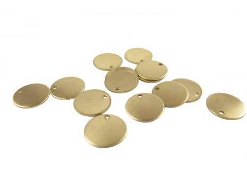 Raw Brass Engraving Circle Charms - with hole - 13mm