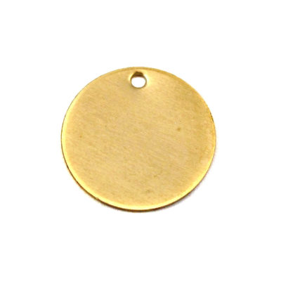 Raw Brass Engraving Circle Charms - with hole - 16mm (6X) (M625)
