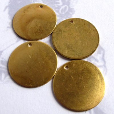 Raw Brass Engraving Circle Charms - with hole - 23mm
