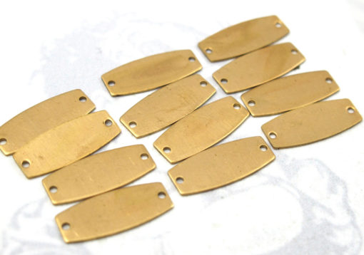 Small Brass Beveled Rectangle Engraving Connector Charms