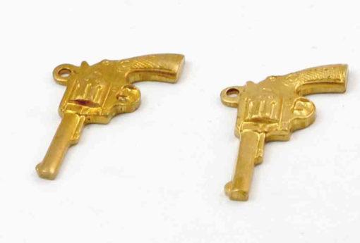 Small Orange Brass Pistol Gun Charm