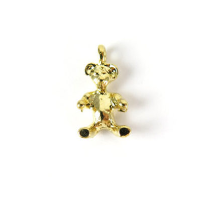 Small Vintage Gold Plated Teddy Bear Charms