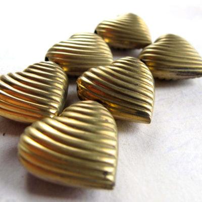 Vintage Brass Heart Bead Pendant Charm