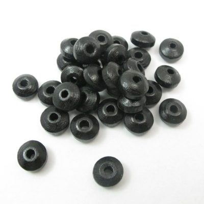 Vintage Dyed Black Wood Saucer Beads