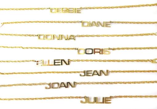 Vintage Gold Plated Name Plate Bracelet - You Choose - (1x) (J810) - Debbie - Diane - Donna - Doris - Ellen - Jean - Joan - Julie