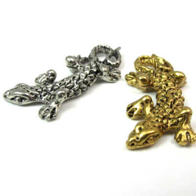 Antiqued Rhodium Plated Pewter Lizard Charms