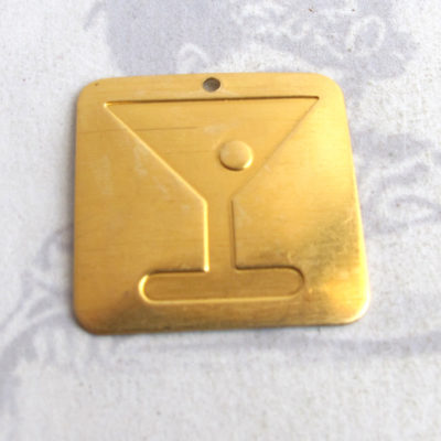 Brass Martini and Olive Pendant