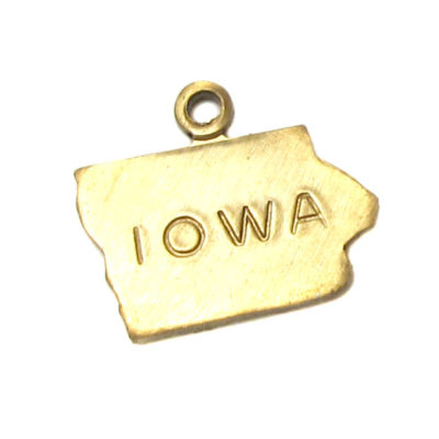 Engraved - Tiny Raw Brass Iowa State Charms