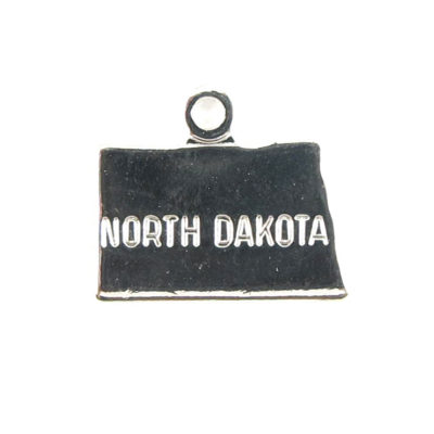 Engraved Tiny SILVER Plated on Raw Brass North Dakota State Charms