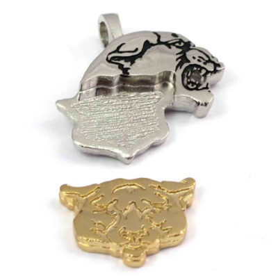 Gold Plated & Antiqued Silver Plated Brass Tiger / Lion / Panther Head Pendants